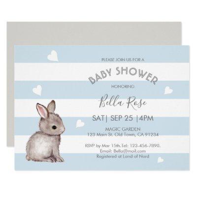 Blue Grey Bunny Baby Shower Invitations