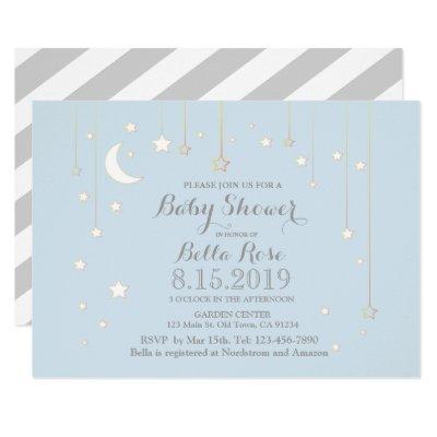Blue Grey Moon Star Boy Baby Shower Invite