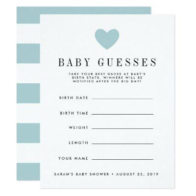 Blue Heart Baby Shower Guessing Game Invitation