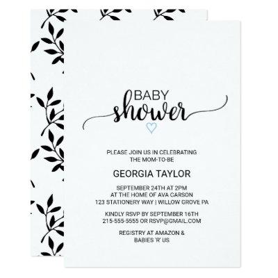 Blue Heart   Simple Black Calligraphy Baby Shower Invitation