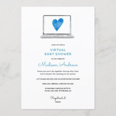 Blue Heart Virtual Baby Shower Invitation
