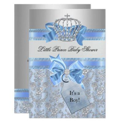 Blue Little Prince Crown Baby Shower Invitations
