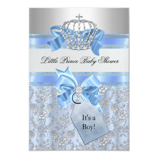 Blue Little Prince Crown Invitations