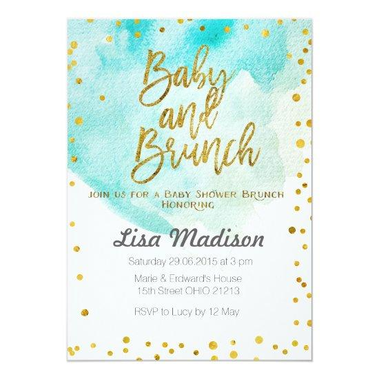 Blue Mint Baby Shower Brunch Invitation Baby Shower Invitations