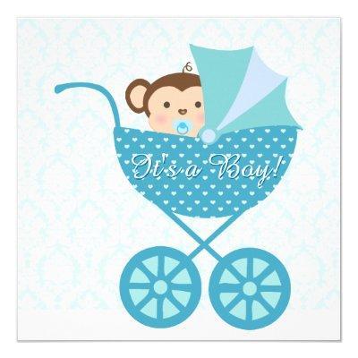 Blue Monkey Invitations