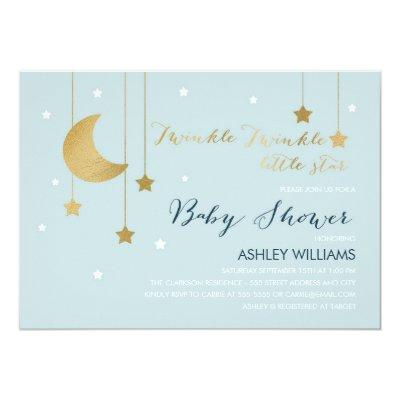 Blue Moon and Stars Baby Shower Invitation