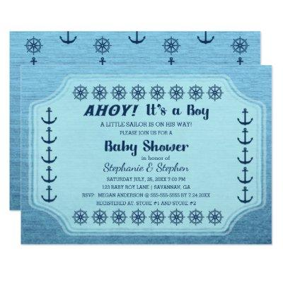 Blue Nautical Anchor Baby Boy Shower Invitation