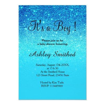 Blue ocean teal glitter ombre boy baby shower Invitations