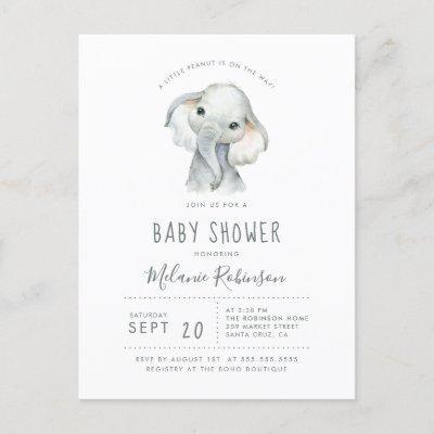 Blue & Orange Tribal Pattern Elephant Baby Shower Invitation Postcard