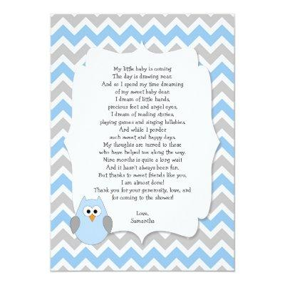 blue owl baby shower thank you notes with poem invitation