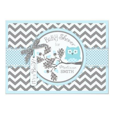 Blue Owl Chevron Print Baby Shower Invitation