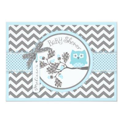 Blue Owl Chevron Print Baby Shower Invitation
