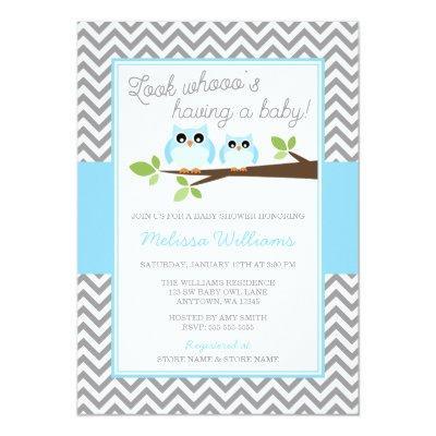 Blue Owl Gray Chevron Boy Baby Shower Invitations