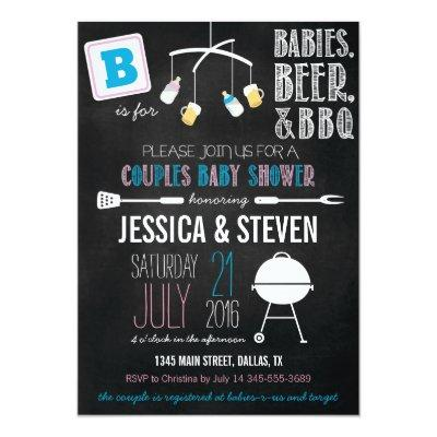 Blue & Pink Couples BBQ Invitations