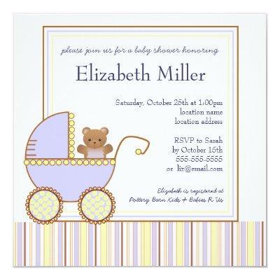 Blue Pram Boy Baby Shower Invitation