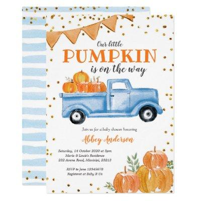 Blue Pumpkin Truck Baby Shower Invitation