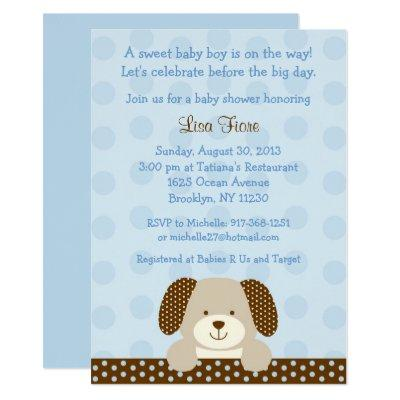 Blue Puppy Baby Shower Invitations