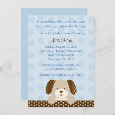Blue Puppy Baby Shower Invitation