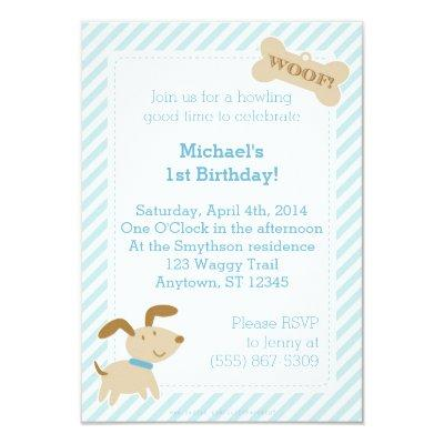 Blue Puppy Dog Invitations with Stripes and Dots