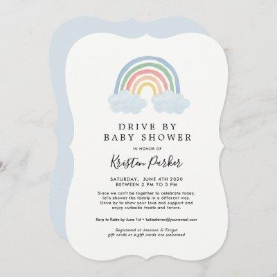 Blue Rainbow Drive By Baby Shower Invitations