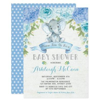 Blue Rose Elephant Baby Shower Boy Jungle Invitation