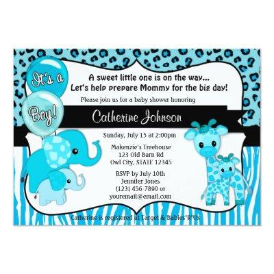 Blue Safari Elephant Giraffe Baby Shower Invitation