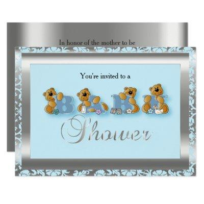 Blue & Silver Damask with Teddy Bear | Baby Shower Invitations