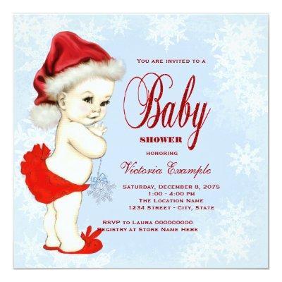 Blue Snowflake Girls Christmas Baby Shower Invitations