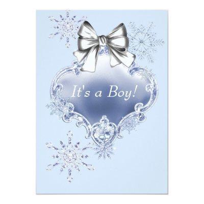 Blue Snowflake Winter Wonderland Baby Shower Invitations