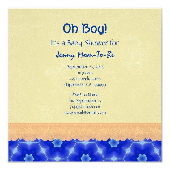 64e3a9a185c Blue Star Pattern and Peach Lace Baby Boy Shower Card