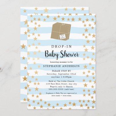 Blue Stripe + Gold Star DROP-IN Boy Baby Shower Invitation
