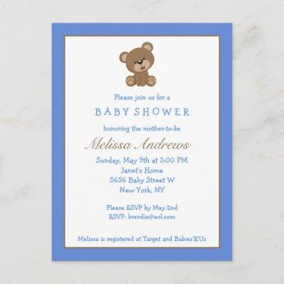 Blue Teddy Bear Baby Shower Postcard Invitations