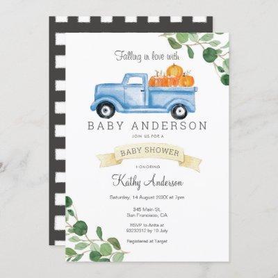 Blue Truck Pumpkin Baby Shower Invitation