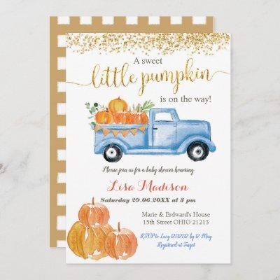 Blue Truck Pumpkin is on the way baby shower Invitation