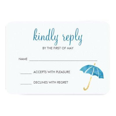 Blue Umbrella Baby Shower RSVP Response Invitations