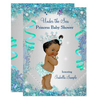 Blue Under The Sea Princess Baby Shower Ethnic Invitations