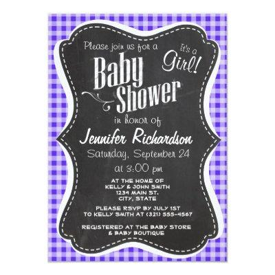 Blue Violet Gingham; Chalkboard look Invitations