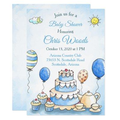 Blue Water Color Baby Shower Invitation