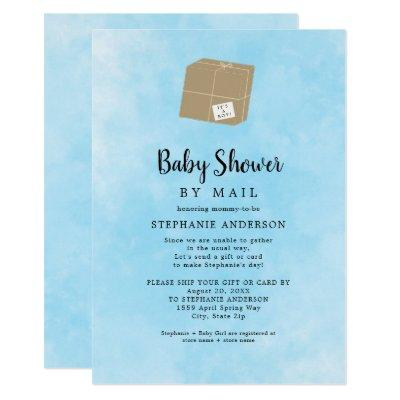 Blue Watercolor Boy Baby Shower by mail Invitation