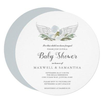 Blue Watercolor Florals Angel Wings Baby Shower Invitations