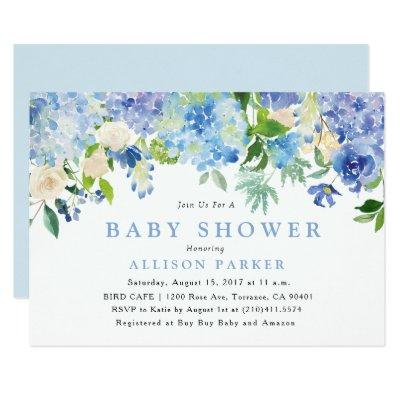 Blue Watercolor Flowers Baby Shower Invitations