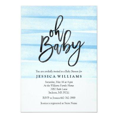 Blue Watercolor Gradient Oh Baby Shower Invitations