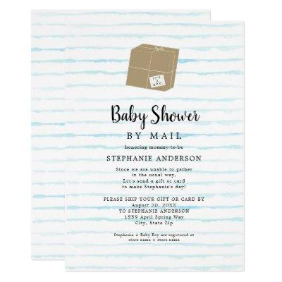 Blue Watercolor Stripes Boy Baby Shower by mail Invitation