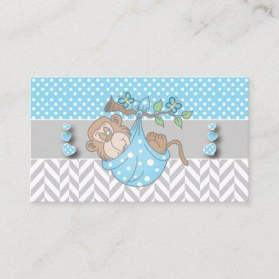 Blue, White and Gray Monkey Book Request Enclosure Card
