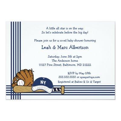 Blue & White Baseball Baby Shower / Birthday party Invitations