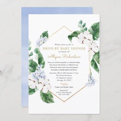 Blue white floral gold Drive by spring baby shower Invitation