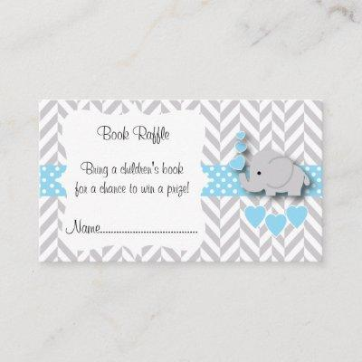 Blue, White Gray Elephant Baby Shower Book Raffle Enclosure Card