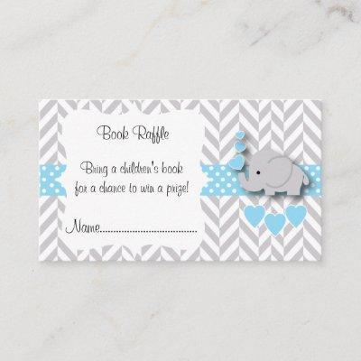 Blue, White Gray Elephant Baby Shower Book Raffle Enclosure Invitations