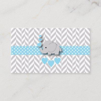 Blue White Gray Elephant Baby Shower Diaper Raffle Enclosure Invitations
