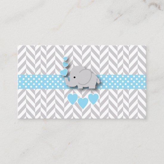 Blue White Gray Elephant Baby Shower Diaper Raffle Enclosure Card